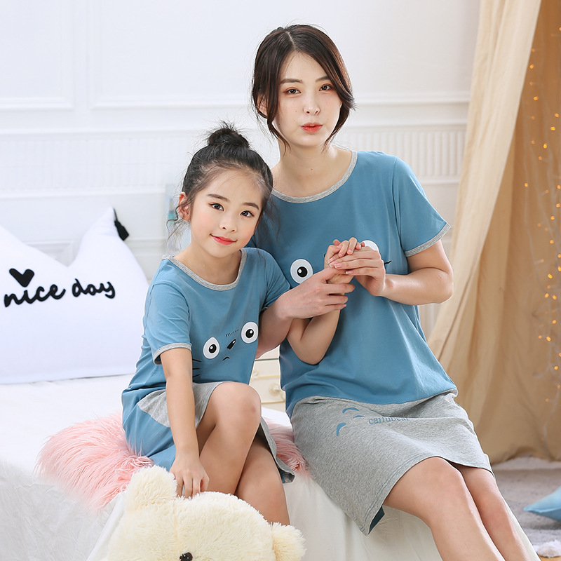 mother-daughter-dresses-summer-cotton-family-matching-outfit-cartoon-dressing-gown-matching-pajamas-short-sleeves-girl-sleepwear