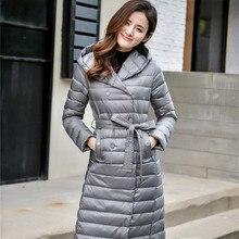 Женский Двухсторонний пуховик, Длинная зимняя куртка с высоким воротником, белый пуховик с утиным пухом, двубортные теплые парки, зимняя верхняя одежда