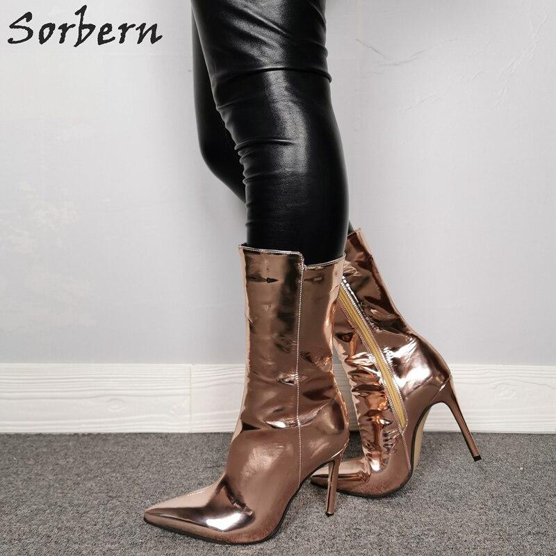 Sorbern Rose Gold Enkellaars Voor Dames Laarzen Hakken Custom Breed Enkel En Kleuren Bling Laarzen Metallic Size 11 Vrouwen schoenen - 2