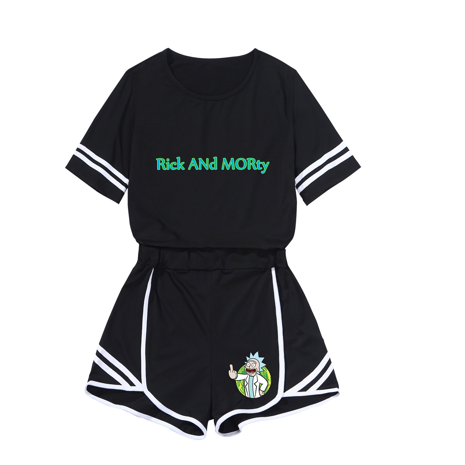 Rick And Morty2020 Spring Leisure Suit Rick And Morty Printed Short Skirt Sportswear-