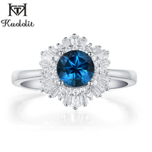 Kuololit London blue topaz Emerald Gemstone Rings for Women Solid 925 Silver Jewelry Snow Engagement Ins Fashion Christmas Gift