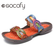 SOCOFY Women Genuine Leather Retro Style Printed Sandal Open Toe Slides Comfy Casual Outdoor Flat Beach Shoes Slipper 2020
