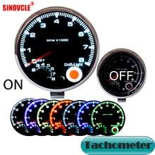 Dragon medidor automotivo, medidor de carro 3.75 Polegada 95mm, tacômetro, cromado, para 7 cores de led, ajustável, 12v, 3, 3/4