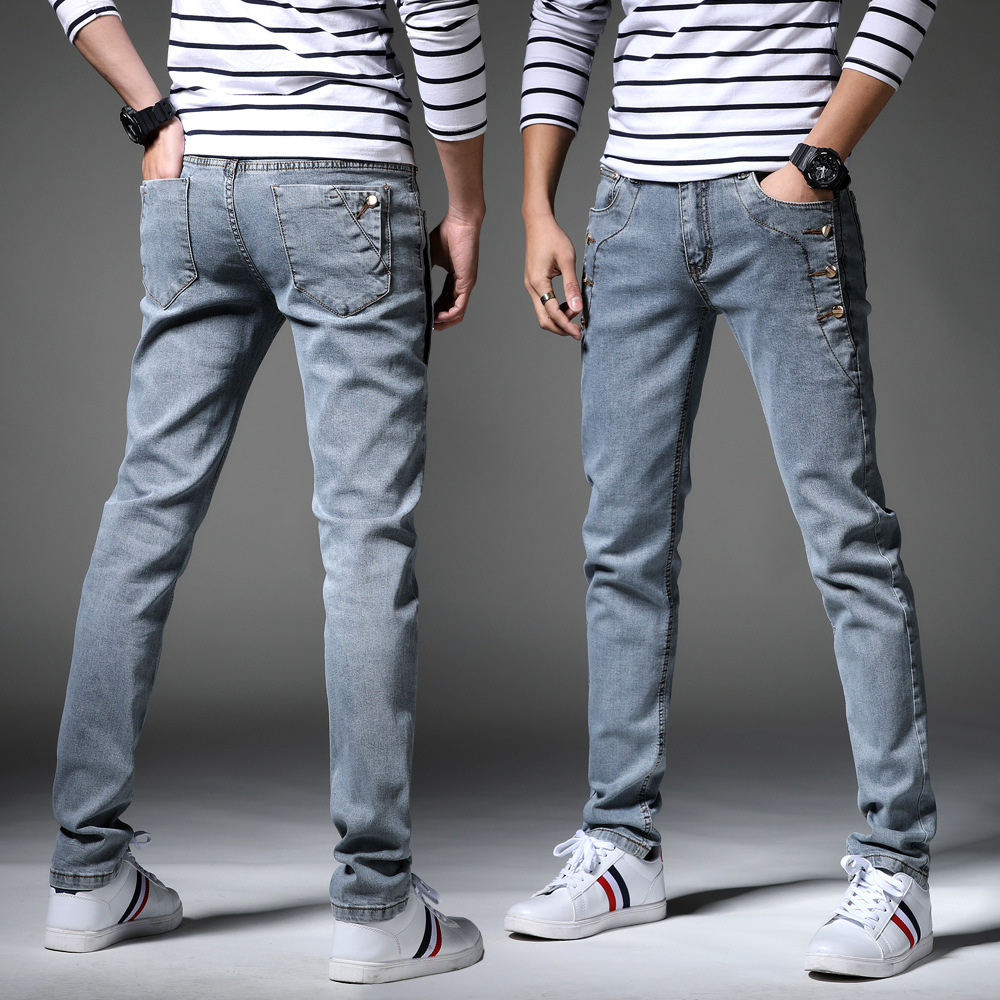 Spring Summer Teenager Cool Jeans Male STUDENT'S Slim Fit Elasticity Skinny Pants Korean-style Trend Line Men'S Wear