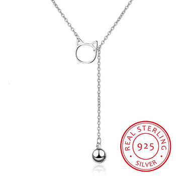 Korea Cute Cat Ears Bells Pendant Sweet Fresh Creative 925 Sterling Silver Clavicle Chain Female Necklace Colar Collier image