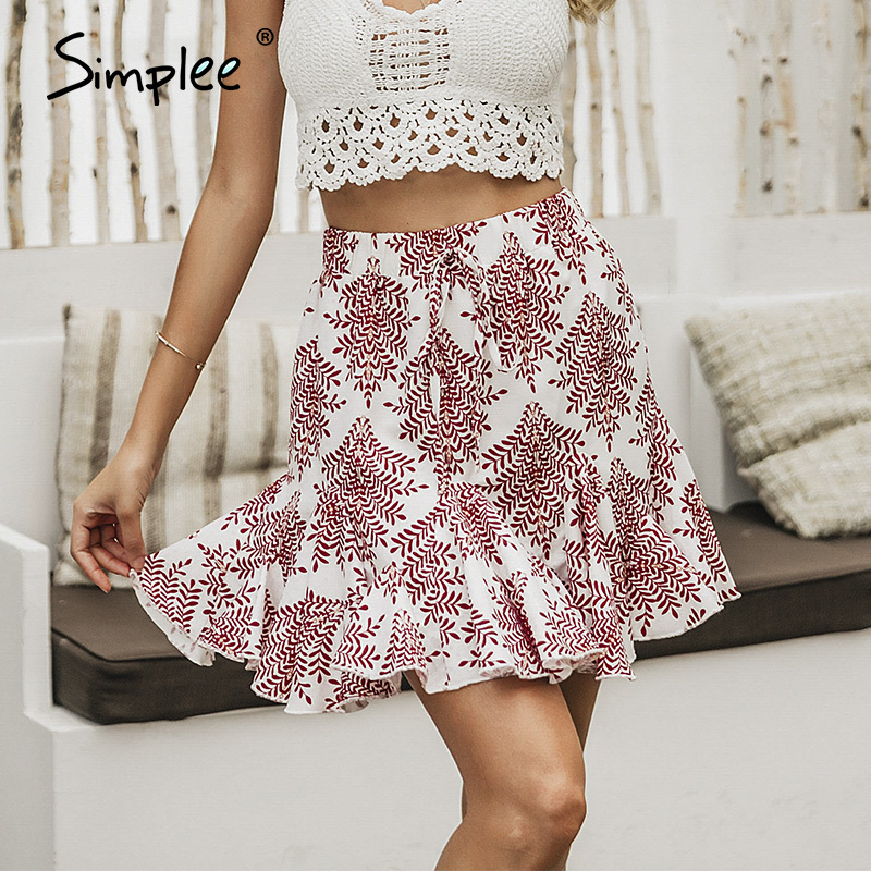 Simplee Casual Floral Print Women Mini Skirt Lace Up A-line Ruffled Female Short Skirts Spring Summer Ladies Holiday Skirts 2020