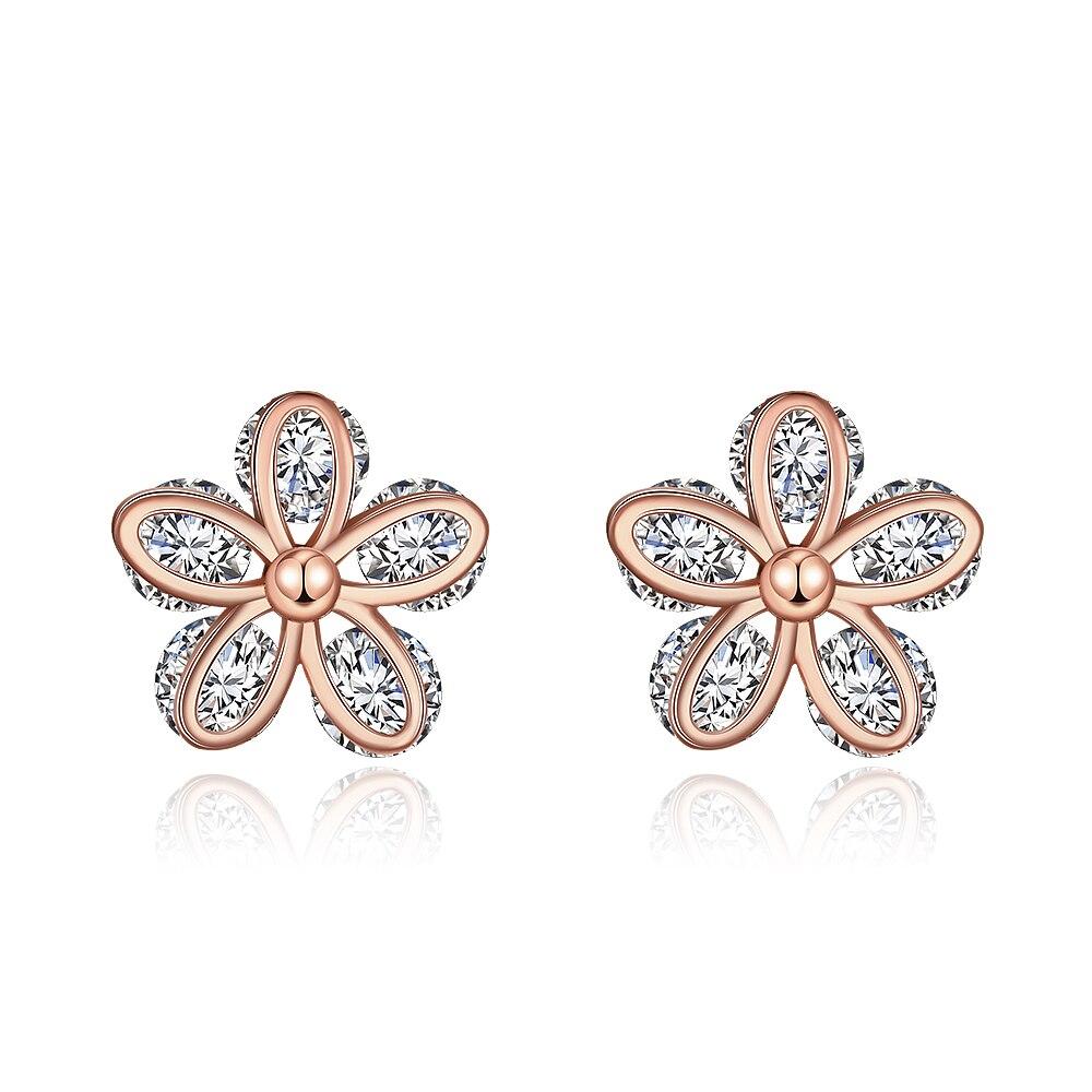 TE032 élégant fleur 925 en argent Sterling zircone pierre boucle d'oreille pour les femmes bijoux de mariage