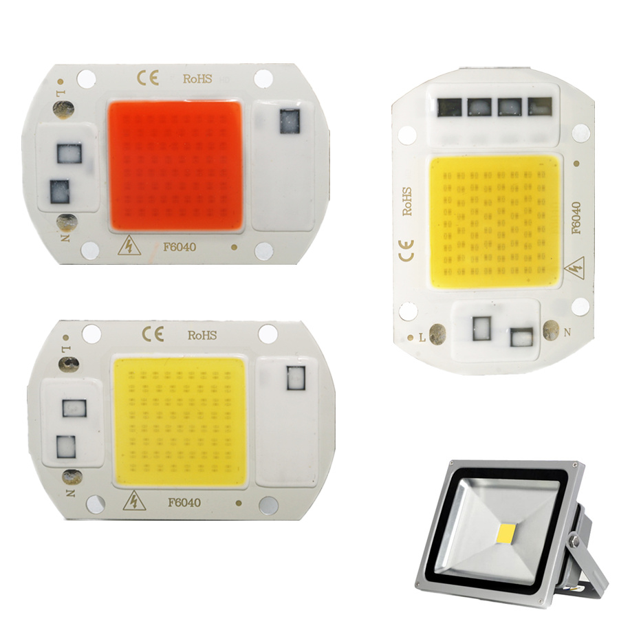 LED COB Lamp Chip 10W 20W 30W 50W AC 220V Smart IC LED Beads DIY For LED Floodlight Spotlight Warm White Full Specturm Module