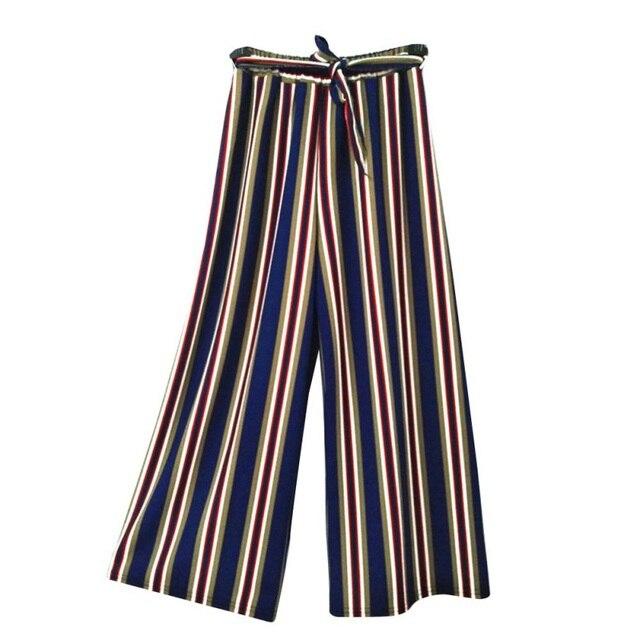 Pantalones Sueltos A La Moda Para Mujer A Rayas De Cintura Alta Pantalones De Pierna Ancha Largos Mujer Elegante Casual Pantalones Pantalones Y Pantalones Capri Aliexpress