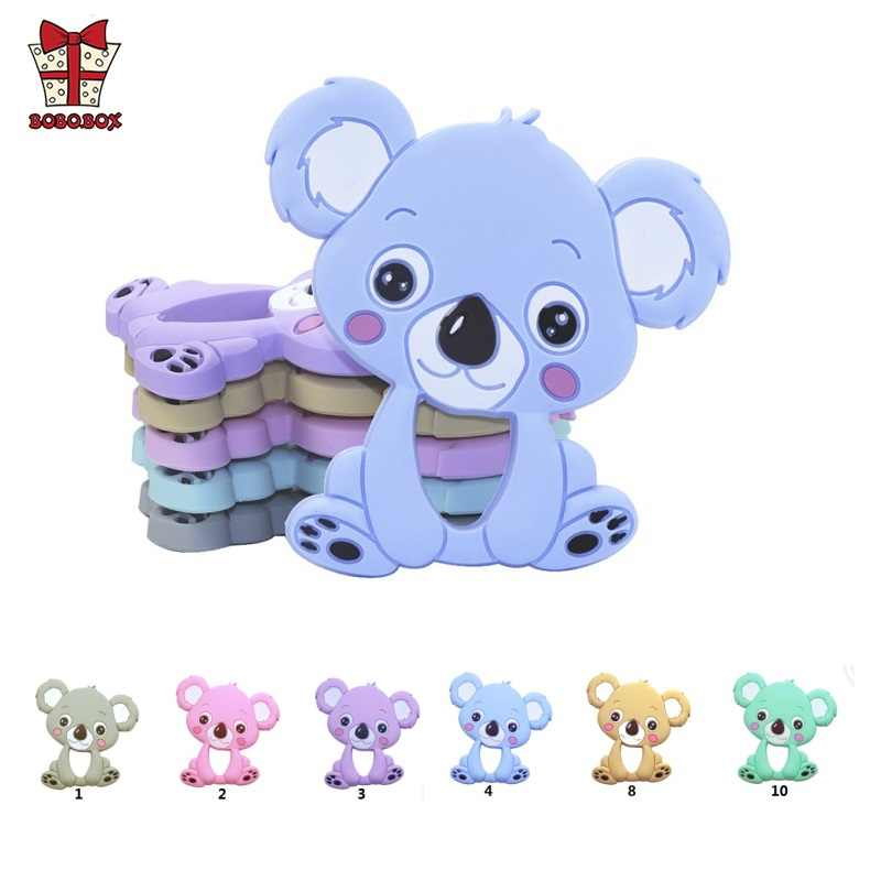 BOBO.BOX 1pc Silicone Teether Animal Koala Baby Teether Pendant Food Grade BPA Free Baby Teething Chew Charms Silicone Beads Toy