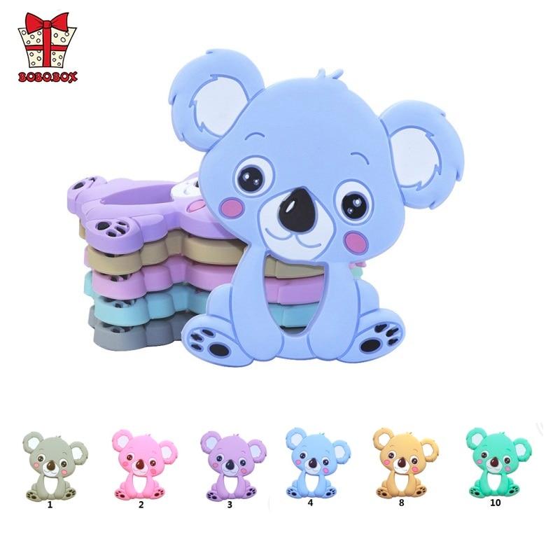 BOBO.BOX 1pc Silicone Teether Animal Koala Baby Teether Pendant Food Grade BPA Free Baby Teething Chew Charms Silicone Beads Toy