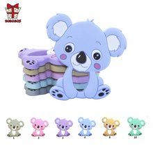 BOBO.BOX 1pc Silicone Teether Animal Koala Baby Teether Pendant Food Grade BPA Free Baby Teething Chew Charms Silicone Beads Toy(China)