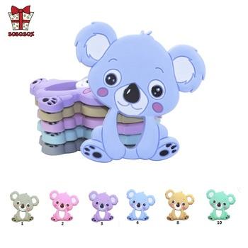 BOBO BOX 1pc silikonowy gryzak zwierząt Koala dziecko gryzak wisiorek Food Grade BPA bezpłatne dziecko ząbkowanie Chew Charms kulki silikonowe zabawki tanie i dobre opinie BOBO BOX Pojedyncze załadowany Teether Lateksu Nitrosamine darmo Ftalanów BPA za darmo 4 miesięcy YYY908 Koala teether