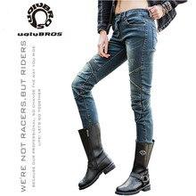 Uglybros featherbed outono inverno calças da motocicleta das mulheres ao ar livre equitação calças de proteção quente respirável moto jeans