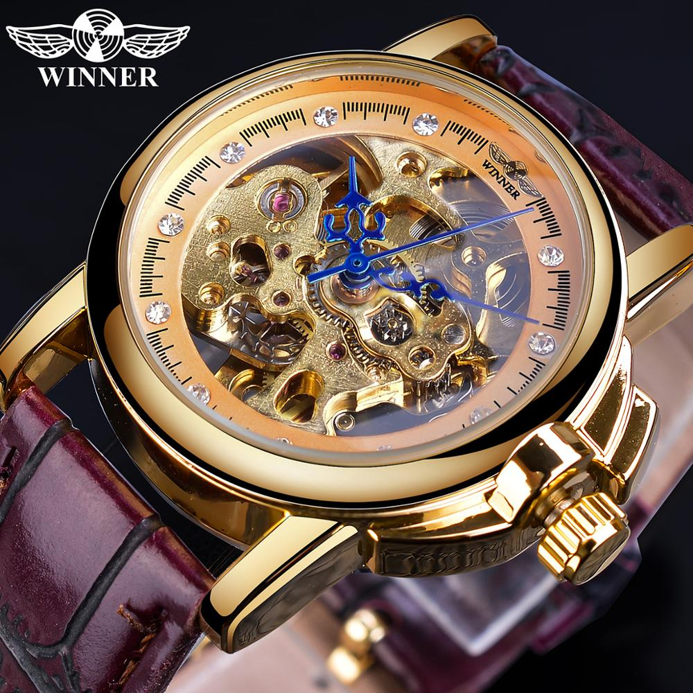 Forsining Classic Retro Design Blue Hands Ladies Fashion Golden Skeleton Diamond Display Mechanical Wrist Watches Gift For Women