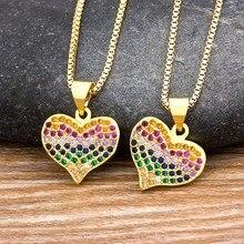 Collier en cuivre et Zircon de haute qualité pour femmes, breloque en cristal, arc-en-ciel, bijoux romantiques, pendentif en CZ, cadeaux de mariage fins