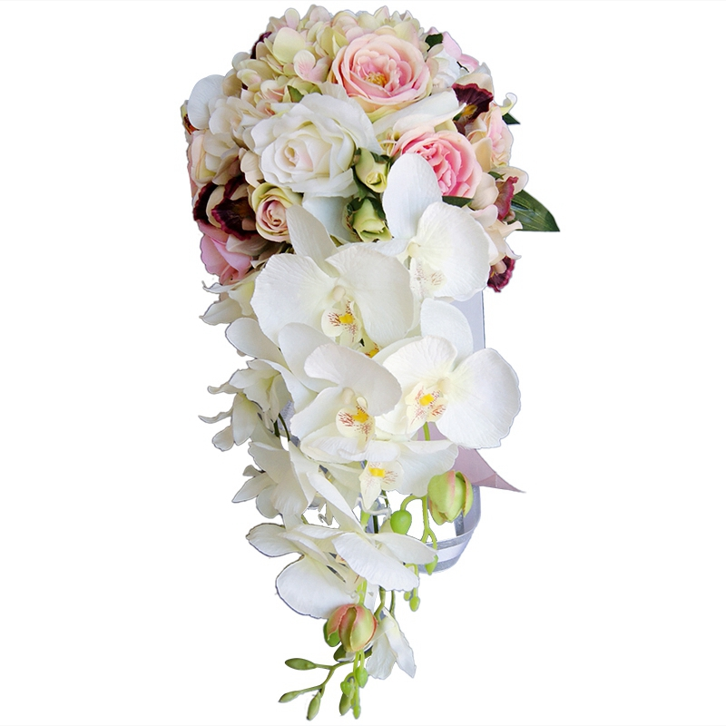 Waterfall Water Drop Type Bouquet Pink White Wedding Flowers Bridal Bouquets Artificial Wedding Bouquets Rose Bridal Bouquets Pr