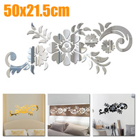 Acrylic Mirror Flower Sticker Home Decor For Living Room DIY 3D Home Decal