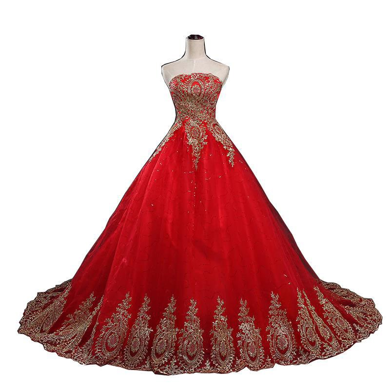 2021 New Ball Gown Lace Tulle Red Wedding Dress with tail Chinese...