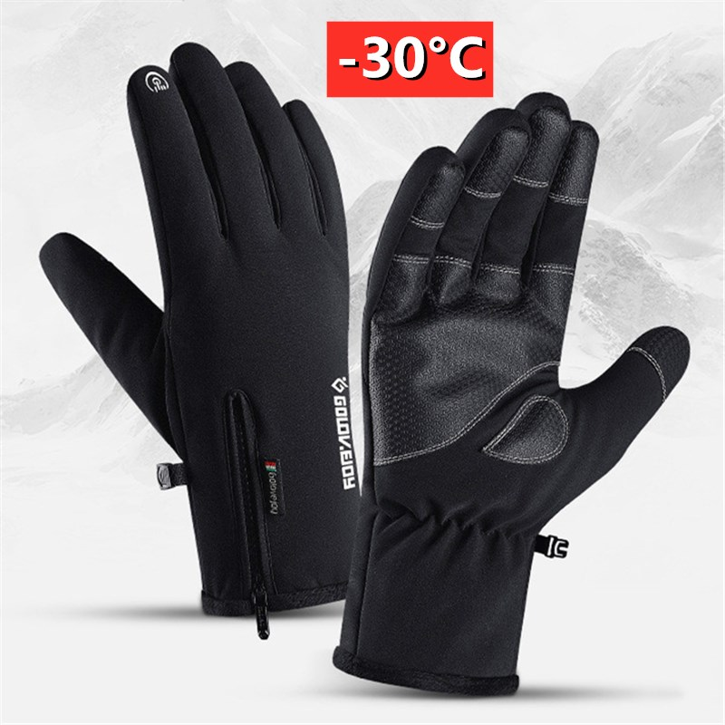 Winter Waterproof Gloves Touch Screen Anti-Slip Zipper Gloves Men Women Riding Skiing Warm Fluff Comfortable Gloves Black M L XL