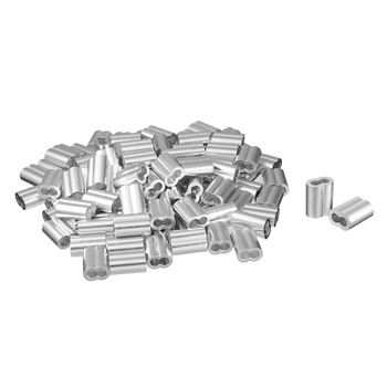 ACAMPTAR 100pcs 3//32 inch 3.0mm Diameter Wire Rope Aluminum Alloy Sleeves Clip Fittings Cable Crimps