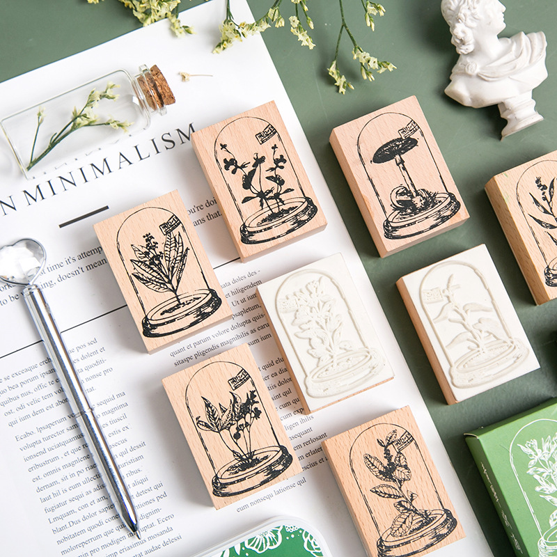 Vintage Glass Plants Series Decoration Stamp Wooden Rubber Stamps For Scrapbooking Stationery DIY Craft Standard Stamp