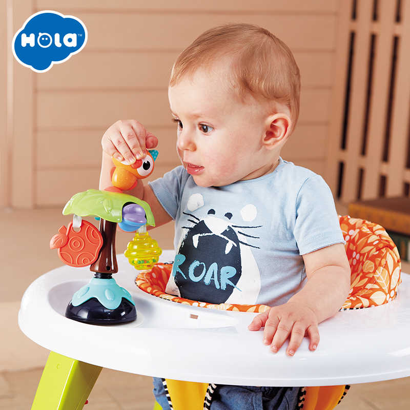 Hola 3150B 2-In-1 Cangkir Hisap Kursi Tinggi Mainan untuk Bayi 0-12 Bulan Bayi Silikon rattle Mainan untuk Balita Anak-anak Pendidikan Mainan