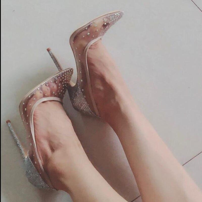 2020 grenadine dentelle strass femmes pompes chaussures printemps été 12cm talons hauts Sexy fête mariage chaussures taille 40 41 42 Miss-88