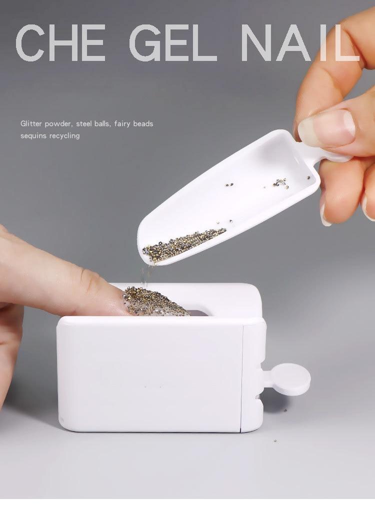 Portable Dipping Powder Magic Mirror Powder Recycling Tray White Nail Sequin Glitter Storage Box Manicure Tools(China)