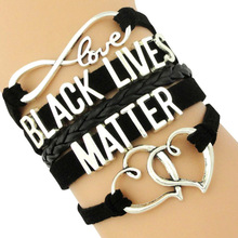 Support the Black All Lives Matter Bracelets Infinity Love Heart Charms Wrap Multilayer Leather Cuff Jewelry Mens