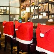 Santa Klausel Rot Hut Stuhl Abdeckung Original Weihnachten Party Abendessen Tabelle Decor Speziellen Niedlichen Home Festival Celeration Dekoration