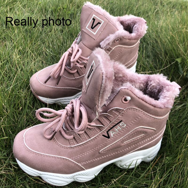 Image 5 - SWONCO  Women Winter Shoes Velvet Fur Platform Sneakers Black/white 2019 New High Top Female Casual Shoes Cotton Padded SnowWomens Vulcanize Shoes   -