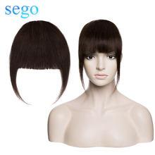 SEGO 25 г накладные человеческие волосы челки с зажимом натуральные волосы удлинитель Реми 3 клипсы естественный шиньон черная фронтальная че...