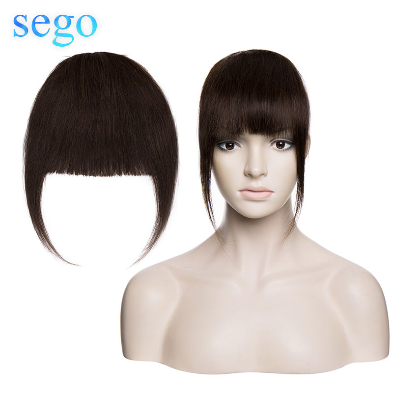 SEGO Real Human Hair Blunt Bangs 18cm 25g Clip In Hair Non-Remy Straight Natural Fringe Hair 3 Clips Front Side Bangs Brown