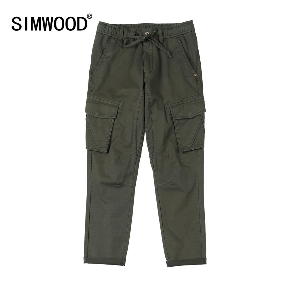 SIMWOOD Cargo Pants Men Ankle-length Drawstring Pocket Streetwear Trousers High Quality Brand Clothing  SI980540