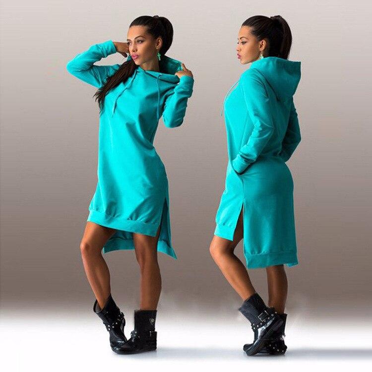 European And American Style Mid-length Hoodie 2020 Women's Pullover Long-sleeved Fleece Hoodie