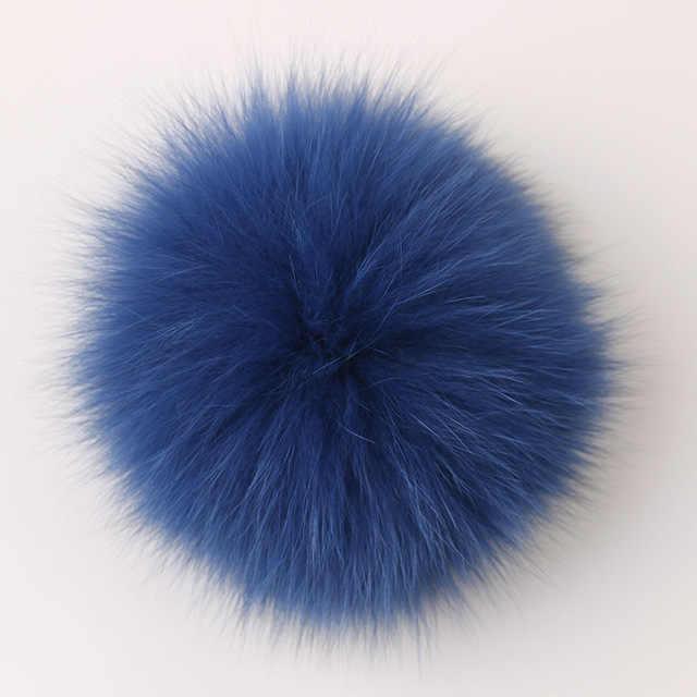 DANKEYISI 15cm Echte Vos Bont Pompom Bont Ballen Bont Pom Poms Voor Hoeden Cap Natuurlijke Wasbeer Bont Pompon Voor sjaal Handschoenen Sleutelhanger