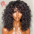 Hesperis Deep Curly Human Hair Wig With Bangs Brazilian Remy Hair 200% Density Full Machine Scalp Top Curly Wig For Black Women