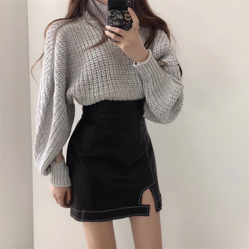 Hzirip Sweet Hollow Out Lantern-Sleeved All-Match 2020 Chic Knitted Loose Thicken Turtleneck Casual Elegant Women Basic Sweater