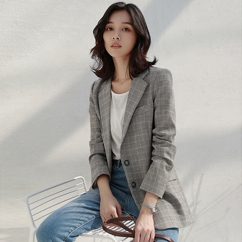 Blazers Women Suit Polyester Fabric Double Button Casual Retro Long Sleeves Ladies Plaid Suit Office Style Spring Autumn