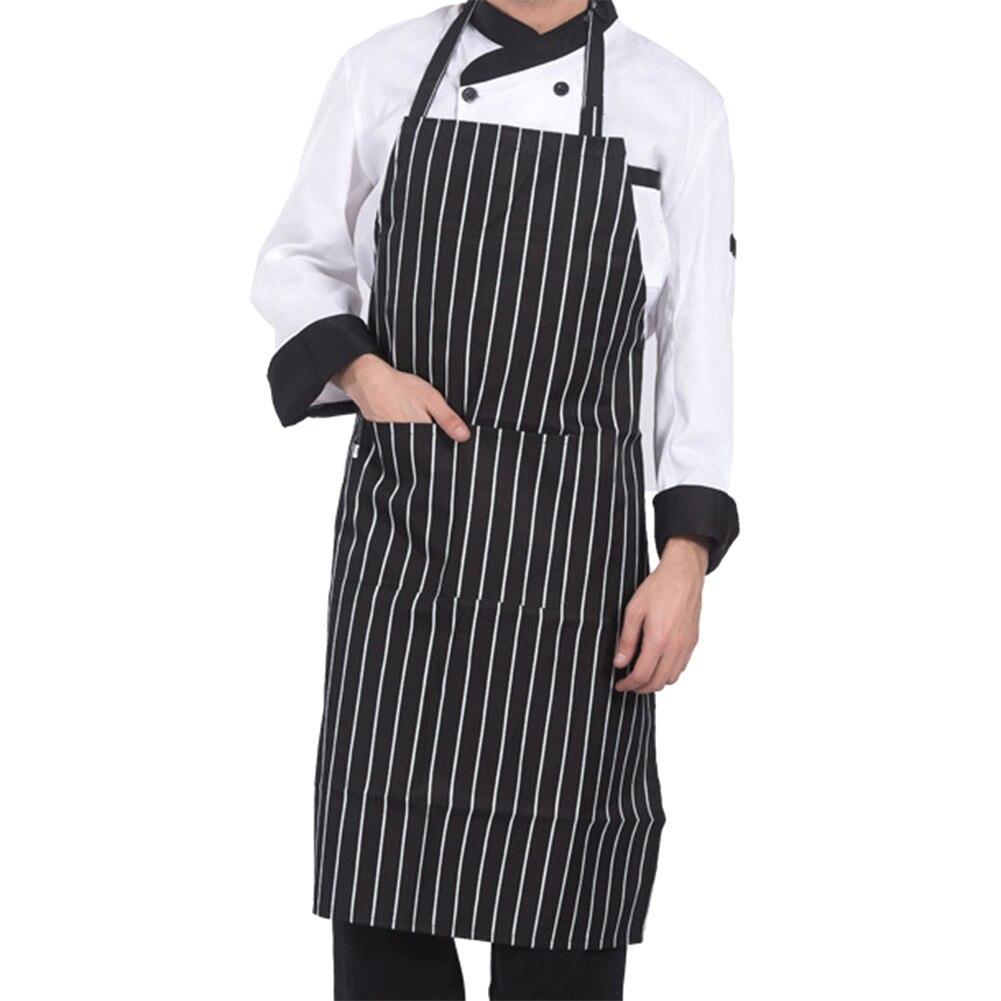 Регулируемый Половина-длина взрослых фартук полосатый Отель Ресторан повара фартук официанта Кухня Кук фартук с 2 карманами