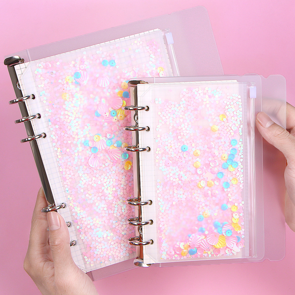 1Pcs Transparent PVC 6 Hole Zipper Document Bag Storage Card Holder with For A5 A6 Pouch Diary Planner Accessories Supplies