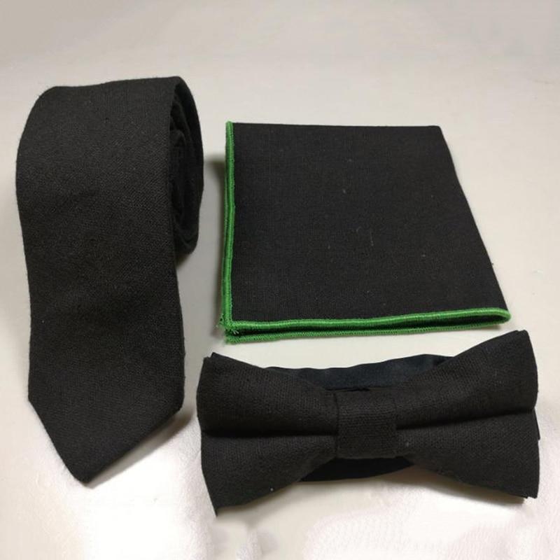 Hot Classic Fashion Cotton Linen Tie Pocket Towel Bow Tie Three-piece Cocktail Talks Square Scarf Tie Sets Accessories