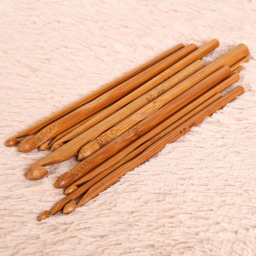 12Pcs 15 Cm Bamboe Breinaalden Haaknaalden Set Diy Breien Weave Garen Neede Ambachten 3 Mm-10 mm Thuis Breien Gereedschap