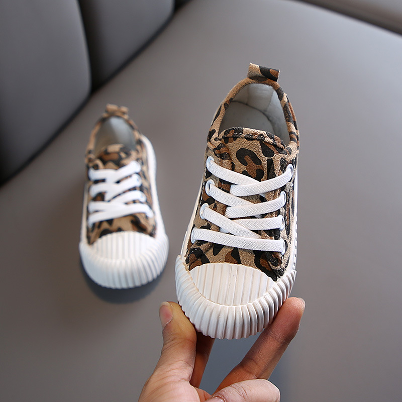 Casual Shoes Boys Girls Sneakers Printed Leopard Canvas Shoes Fashion Children Shoes Non-slip Autumn Kids Sneakers Spotrt Shoes