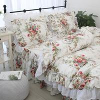 Free shipping 100%cotton Korean princess floral ruffles embroidered lace bedding set twin full queen king size bed skirt YYX