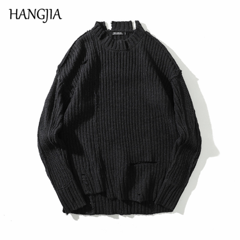 Black Oversized Destroyed Sweater Hole Men Retro Harajuku Pullover Sweater For Male Women Streetwear Fashion Long Sleeve Tops