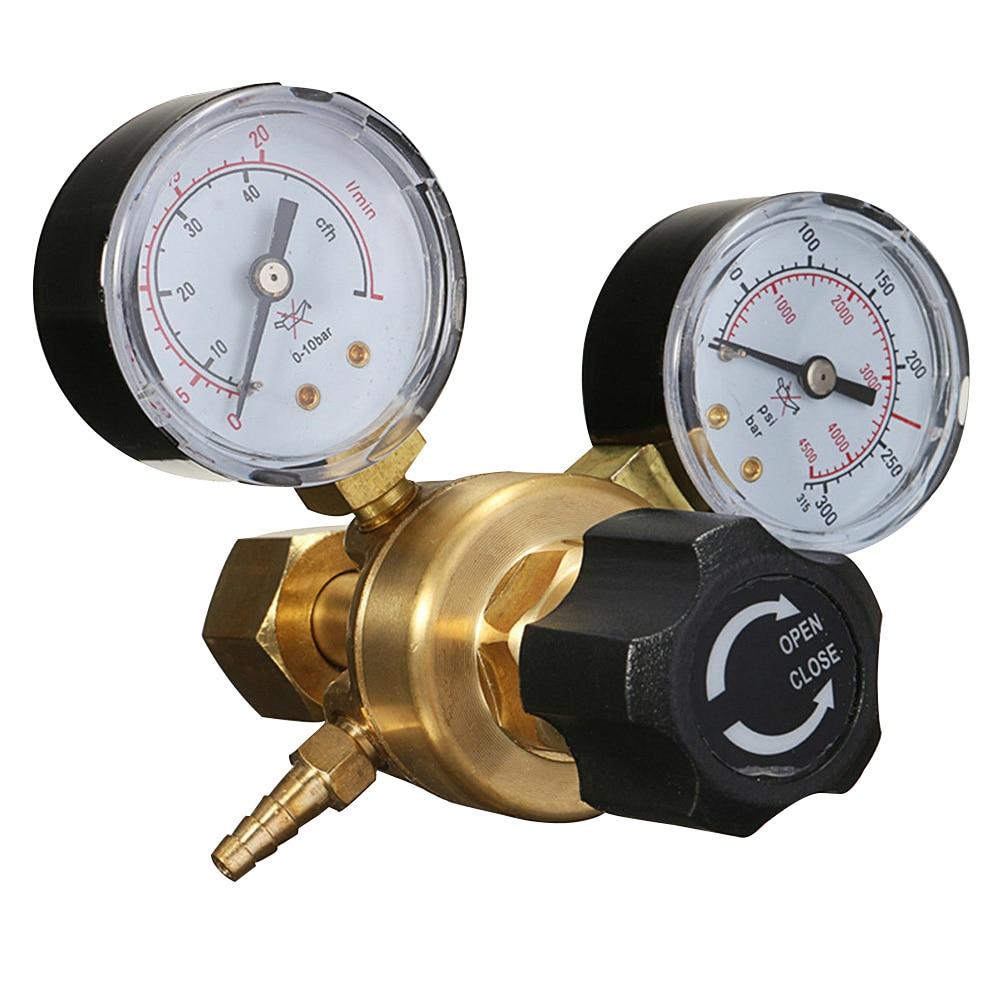 Regulador de Pressão Co2 em Casa Redutor Durável Mini Garrafa Gás Ferramenta Alta Precisão Acessórios Bronze Argônio Twin Gauge Mig Tig