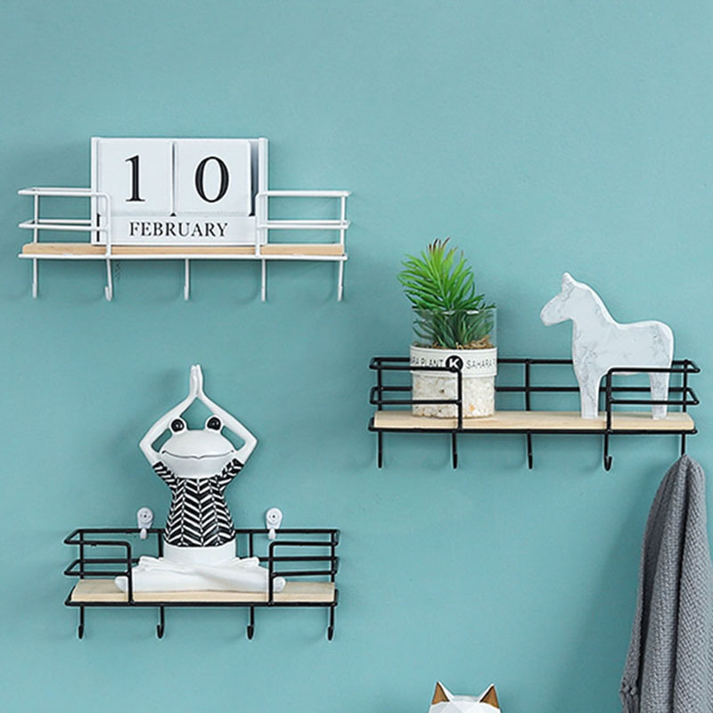 Key Keychain Hooks Creative Iron Wood Wall Home Decor Storage Rack Iron Hook Hanging Basket Shelf White