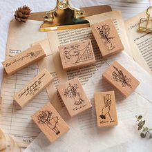 8PCS/LOT flowers series stamp DIY wooden rubber stamps for scrapbooking stationery scrapbooking standard stamp